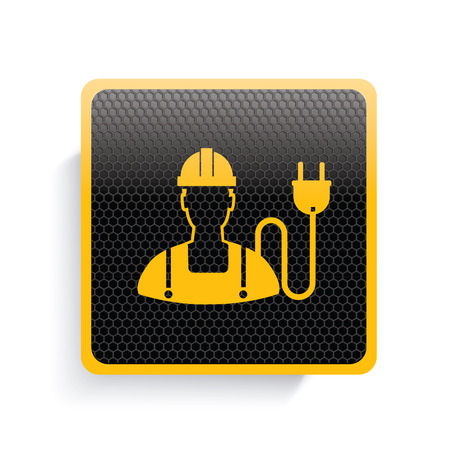 plug hat: Engineer icon design,yellow version,clean vector
