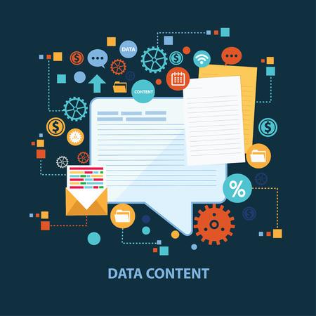 web content: Data content concept design on dark background,clean vector