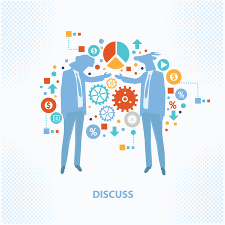 mobbing: Discuss concept design,on clean background,business