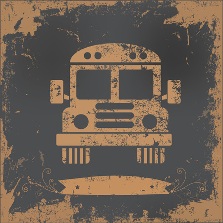 back view student: School bus design on old paper background,vector