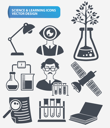 toxicology: Learning, science and innovation icon set design