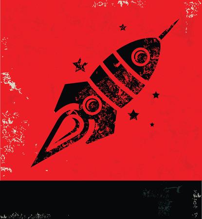 rocket: Rocket design on red background