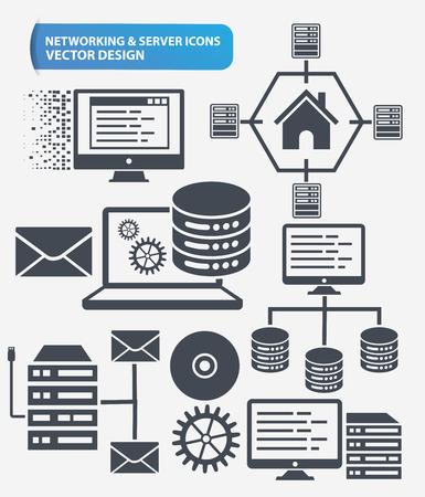 database: Programming,Networking and database server icon set design,clean vector Illustration