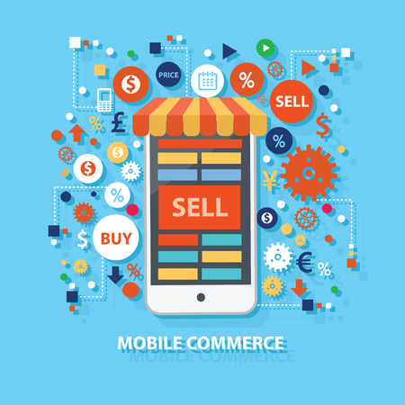 mobile commerce: Mobile commerce concept design on white background