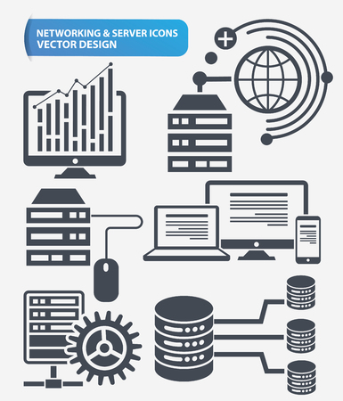 hardware store: Programming,Networking and database server icon set design,clean vector Illustration