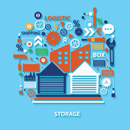 mooring: Storage concept design on blue background,clean vector Illustration