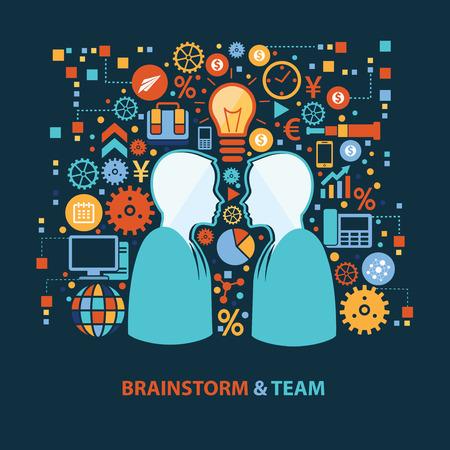 team cooperation: Brainstorm and team concept design on dark background,clean vector