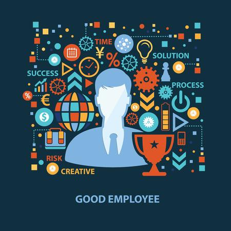 button up shirt: Good employee concept design on dark background,clean vector