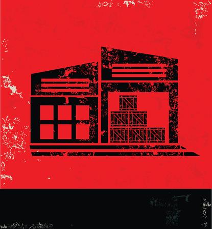 warehouse equipment: Warehouse design on red background, grunge vector
