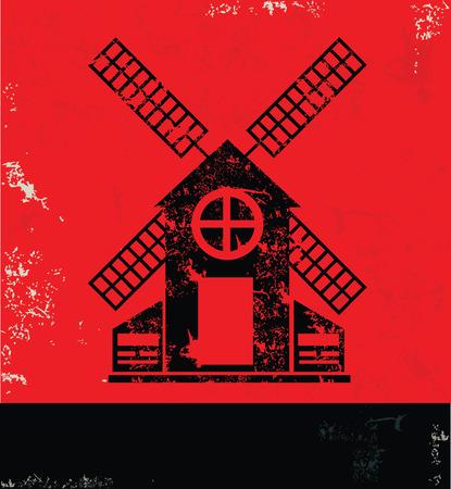 windfarm: Wind turbine design on red background, grunge vector Illustration
