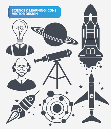 computer scientist: Education,Learning, science and innovation icon set design,clean vector