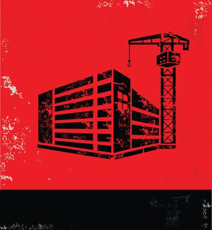 smokestack: Construction,Industry design on red background, grunge vector Illustration