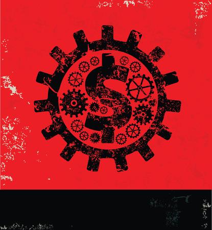signo pesos: diseño de engranajes de dólar en el fondo rojo, vector del grunge