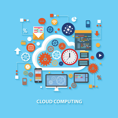 computer system: Cloud computing concept design on blue background,clean vector