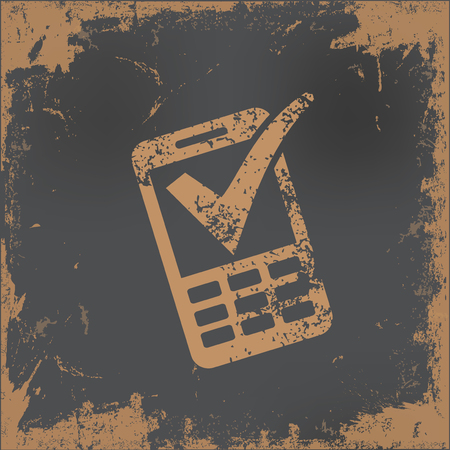 old phone: Mobile phone design on old paper background,vector