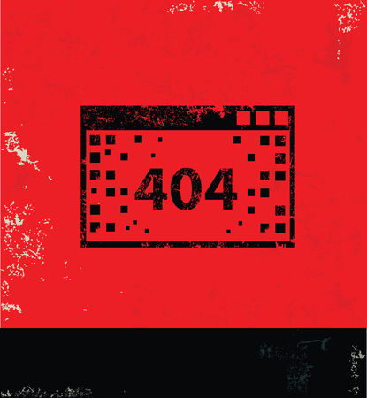 portable failure: 404 Error design on red background, grunge vector