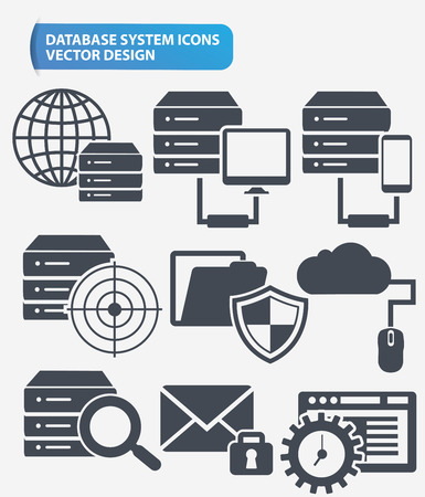 database server: Data,Networking and database server icon set design,clean vector