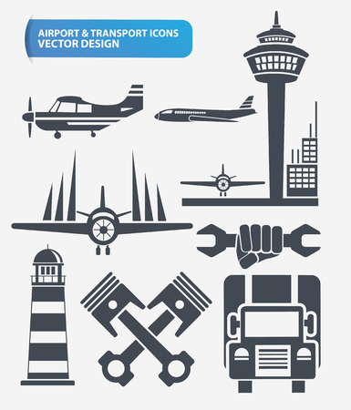 Airport,Transport,logistic and construction icon set design,clean vector Illustration