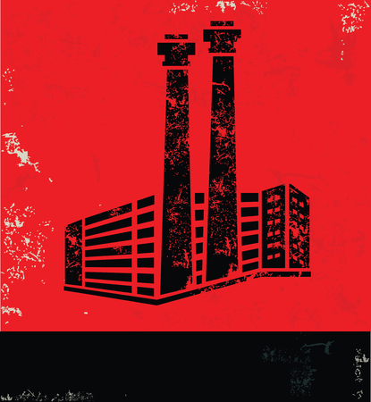 Industry design on red background, grunge vector 일러스트