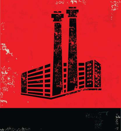 Industry design on red background, grunge vector Illustration