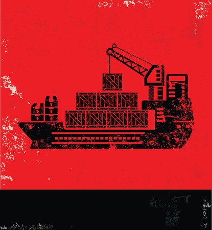 shipyard: Shipping and transport design on red background, grunge vector