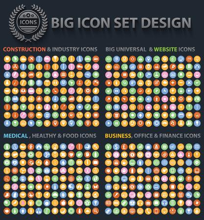 Big scénographie Icon, Universal, Site Web icône, Construction, Affaires, Finance, icônes médicaux, vecteur propre