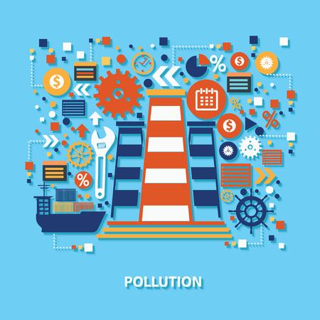 diseño de concepto de la contaminación en el fondo azul, limpio vector