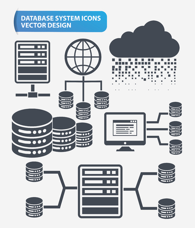 Partage de fichiers, réseau et base de données serveur icon set design, vecteur propre Vecteurs