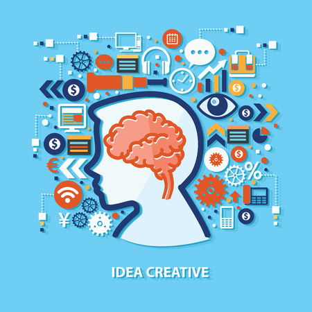 thinking link: Brain concept design on blue background,clean vector