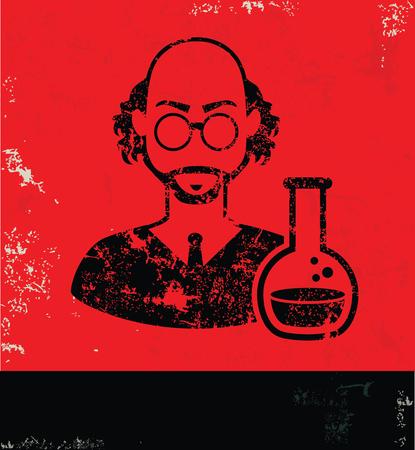 physicist: Scientist design on red background, grunge vector