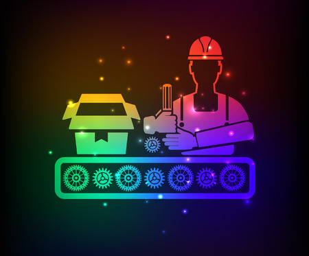 boxed: Cargo,engineer,industry design,rainbow concept,clean vector