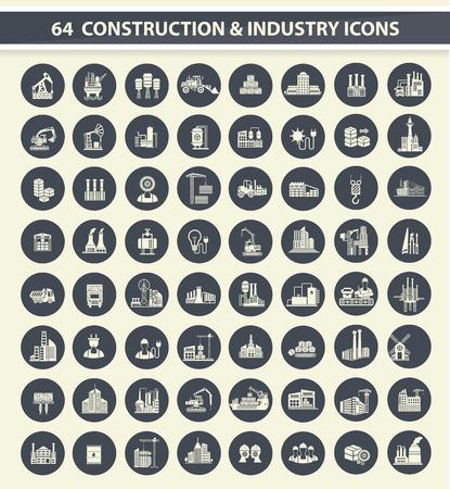 64 Bau, Industrie und Bau-Symbol auf dunkle Tasten, saubere Vektor