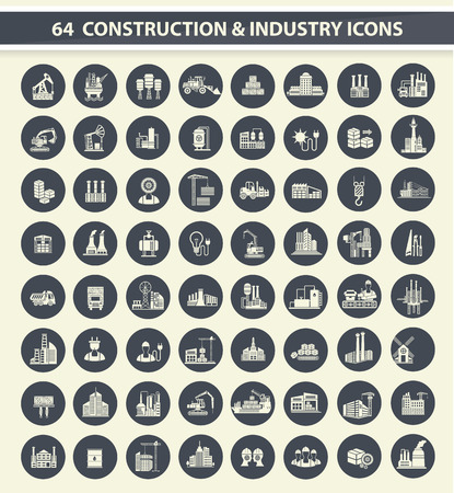 industry: 64 Construction,industry and building icon set on dark buttons,clean vector Illustration
