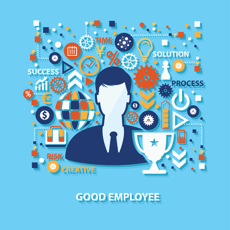 button up shirt: Good employee concept design on blue background,clean vector