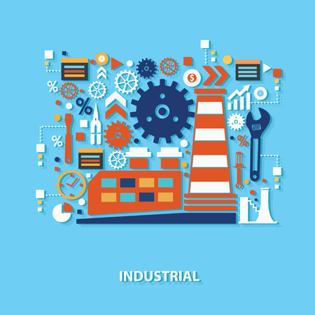 polluted cities: Industry concept design on blue background,clean vector