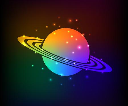 interplanetary: Saturn design,rainbow concept,clean vector