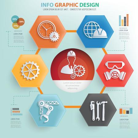 service engineer: Engineering concept info graphic design,vector Illustration