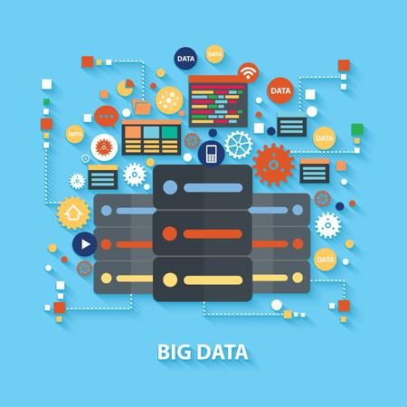 big: Concepto de diseño de datos grande en el fondo azul, limpio vector