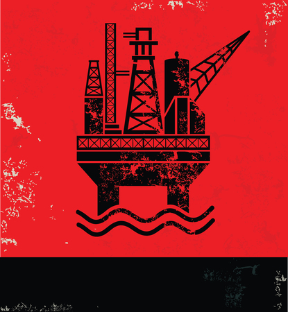 clipart chimney: Oil industry design on red background, grunge vector