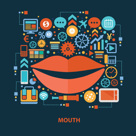 angry sky: Mouth concept design on dark background,clean vector Illustration