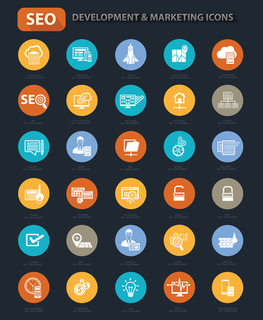 Set of SEO Marketing and Development icon set on buttons,clean vector
