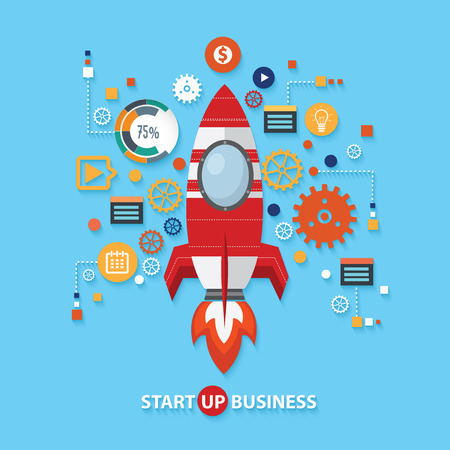 accessing: Start up business concept design on blue background,clean vector