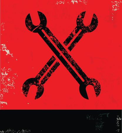 revamp: Repair design on red background, grunge vector Illustration