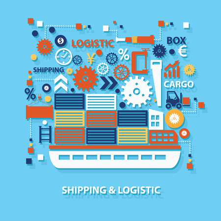 Shipping and logistic concept design on blue background,clean vector Illustration