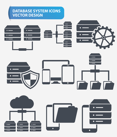 hardware configuration: Data,Networking and database server icon set design,clean vector