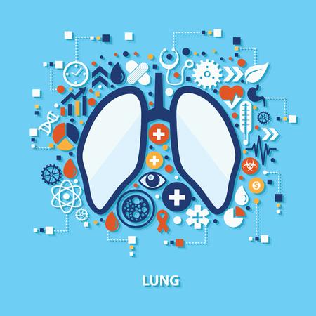 Lung concept design on blue background,clean vector Çizim