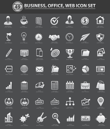 Business, office and web icon set,clean vector