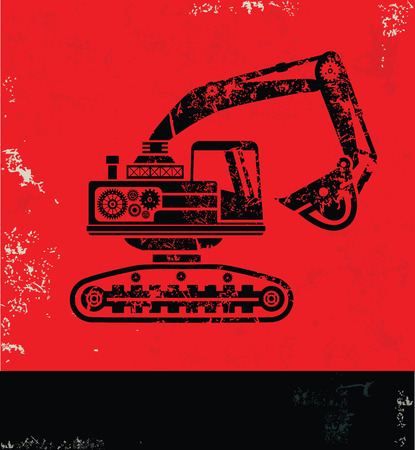 graders: Truck, industry concept design,red  grunge vector