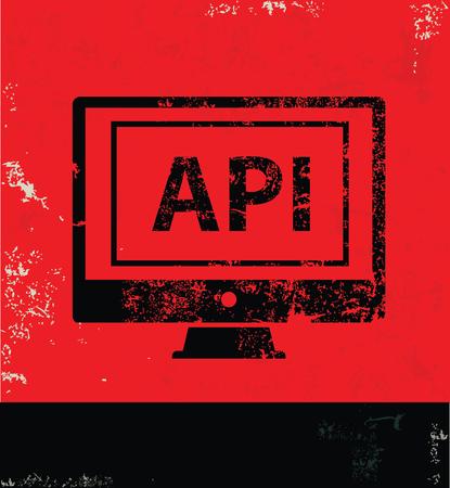 api: API design on red background, grunge vector