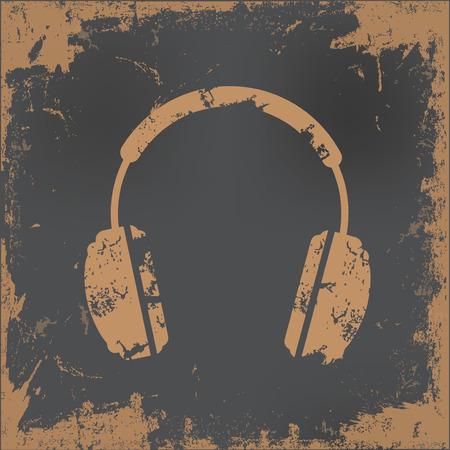 earphone: Earphone design on old paper background,vector Illustration